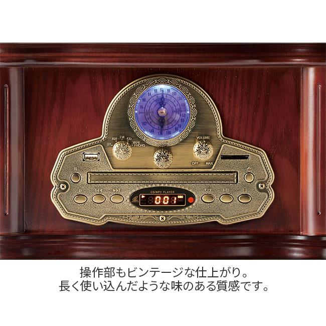 蓄音機型 高級アンティーク調レコードプレーヤー(プレゼント付き)