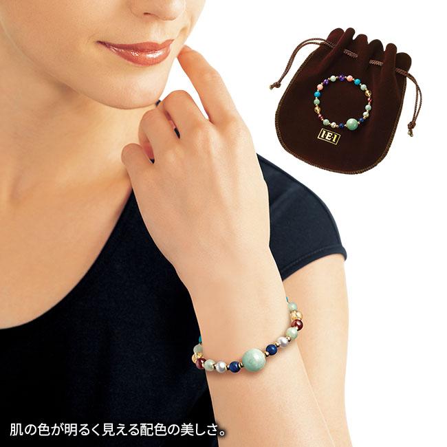 本翡翠と七宝石の宝飾ブレスレット