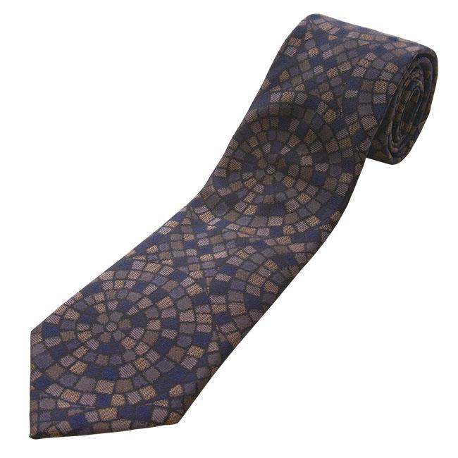 日本製 御召 石畳文様柄 ネクタイ
