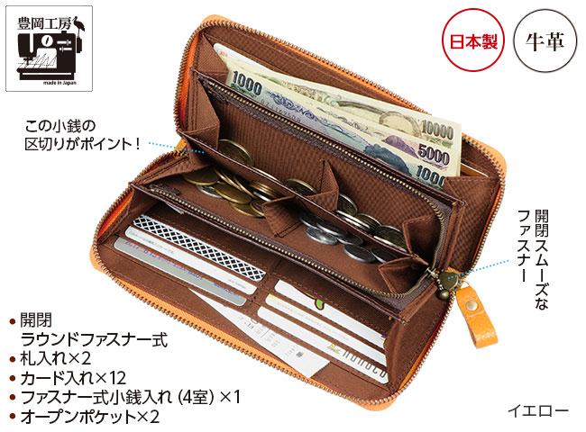 豊岡工房コインが分けられる長財布