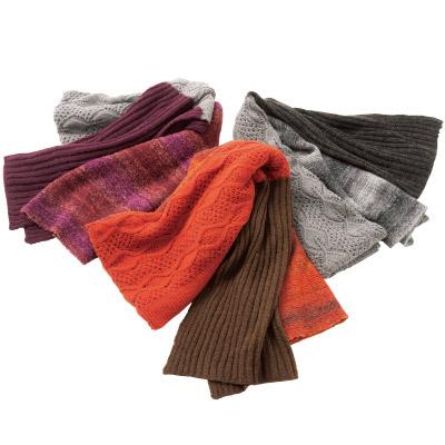 かすり編みの3柄マフラーストール