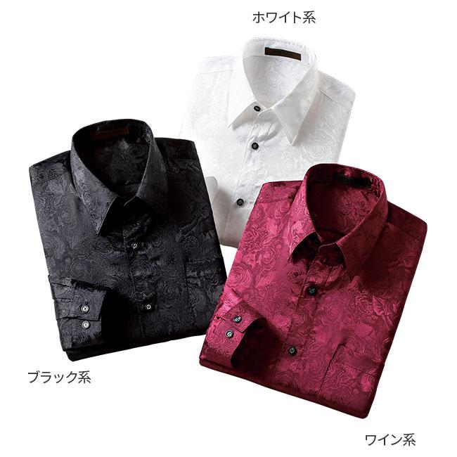 バラ柄サテンジャカードメンズシャツ