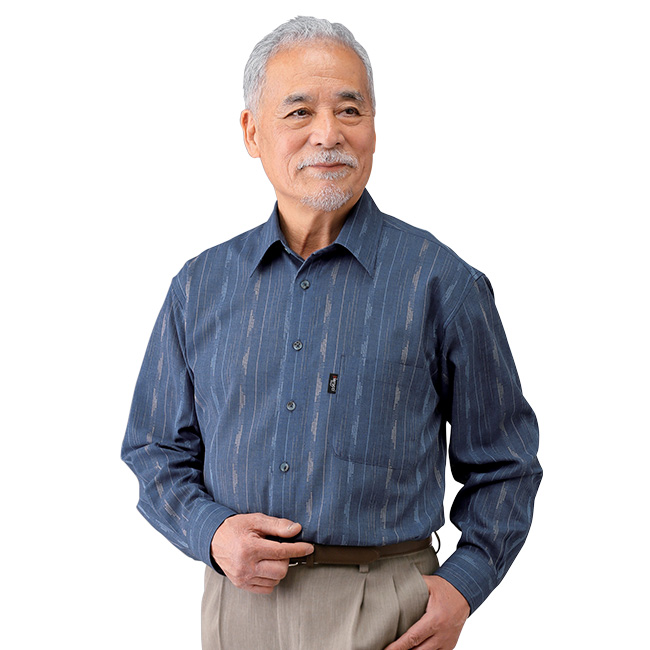 かすり調長袖シャツ2色組