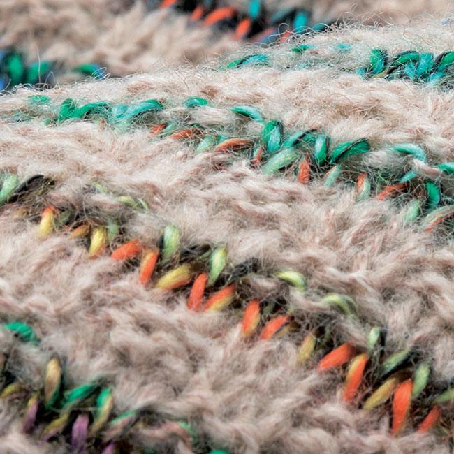 かすりボーダーチュニックセーター