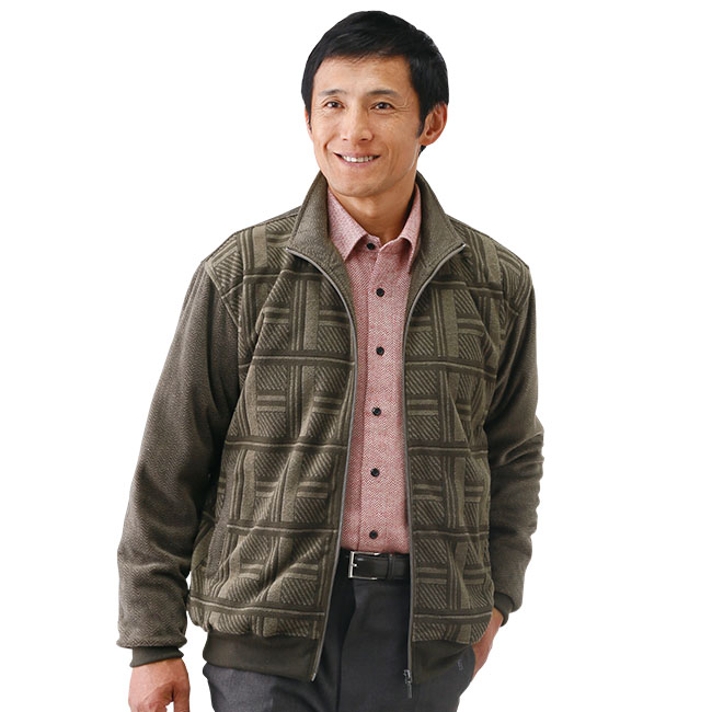 格子柄フリースジップジャケット2色組
