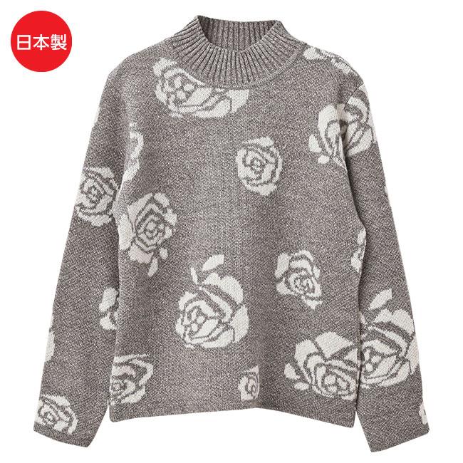 バラ柄ジャカードセーター