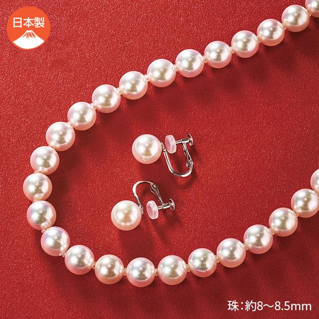 オーロラ花珠真珠 ネックレス・イヤリングセット