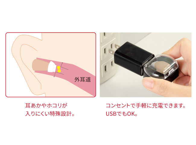 電池交換不要の小型集音器