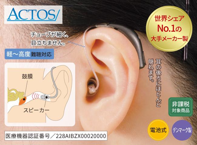 アクトス外耳道レシーバー式デジタル補聴器 ACTOS PR