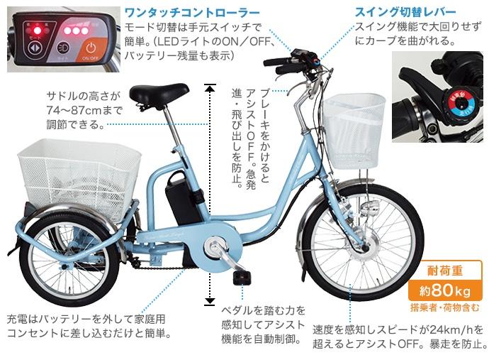 あしらくチャーリー電動三輪自転車(通常サイズ)