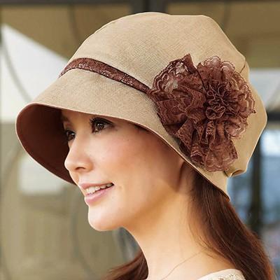作家のスッピン隠しふんわりレース飾り帽子