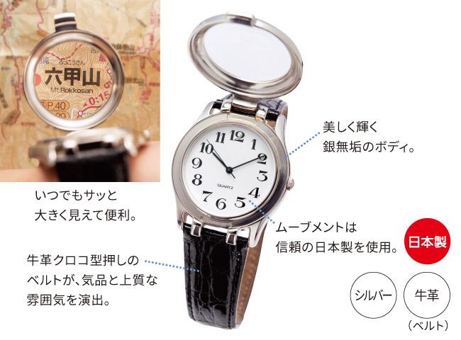 ルーぺ付き銀製大文字腕時計