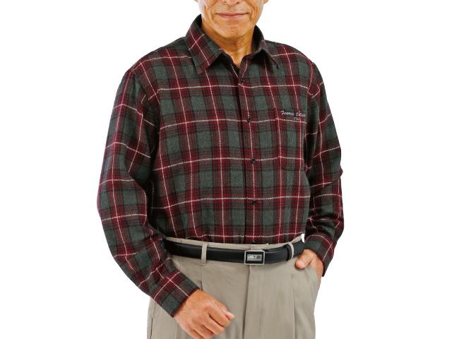 ウール入り暖かチェック柄シャツ3色組