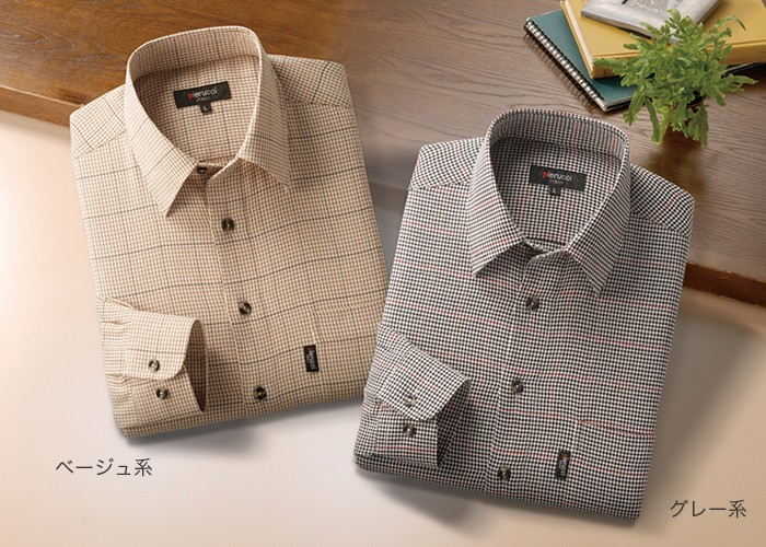 千鳥格子柄シャツ2色組