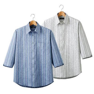 麻混しじらストライプ七分袖シャツ2色組