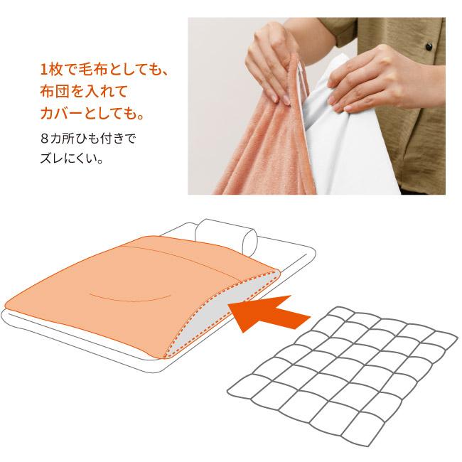 襟付き吸湿発熱暖か掛けカバー