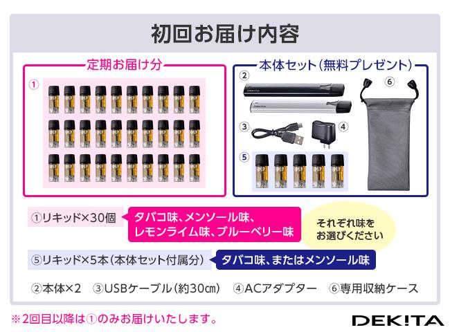 【定期】次世代電子タバコ 禁煙DEKITA リキッド30個組(初回本体付き)