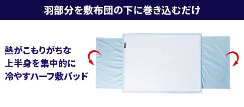 羽部分を敷布団の下に巻き込むだけ。熱がこもりがちな上半身を集中的に冷やすハーフ敷パッド
