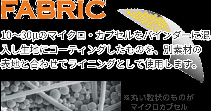 10~30μのマイクロ・カプセルをバインダーに混入し生地にコーティングしたものを、別素材の表地と合わせてライニングとして使用します。