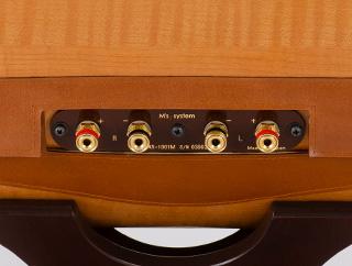 波動スピーカーのケーブル接続部分の写真