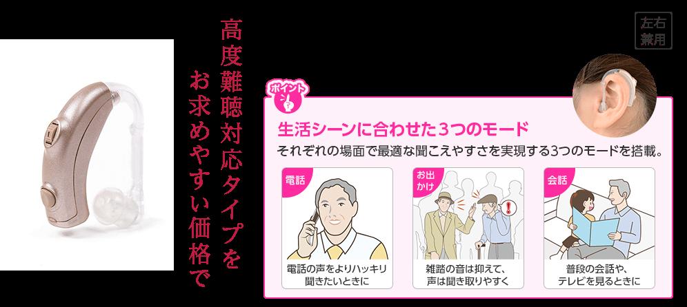 生活シーン(電話・お出かけ・会話)によって最適な聞こえやすさを実現する3つのモードを搭載。