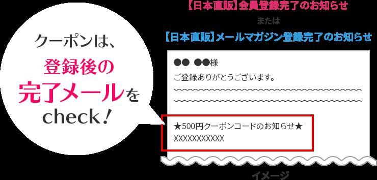 登録後に届く完了メールにクーポンコードが記載されています!