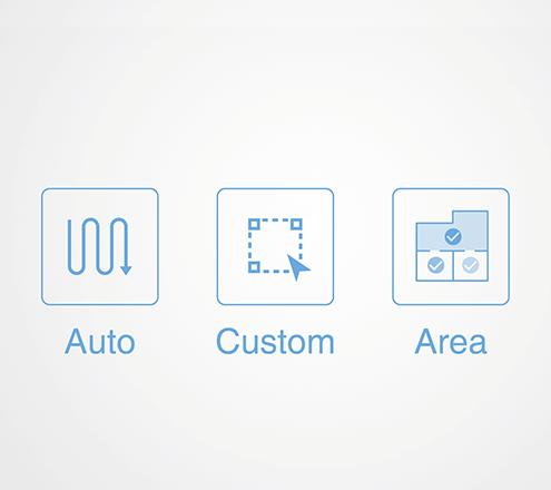 オート清掃モード、エリア別清掃モード、カスタム清掃モードの3モードのイメージ図