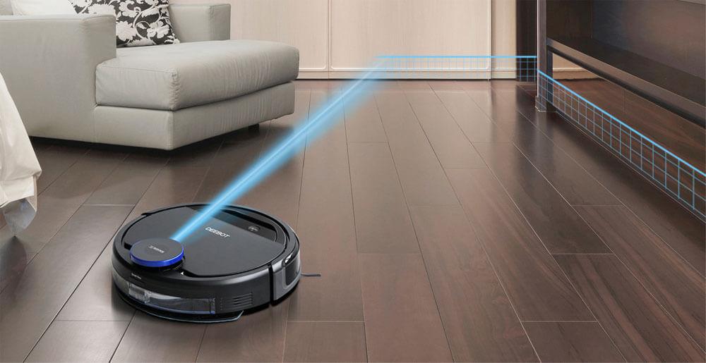DEEBOT OZMO 930が部屋をレーザースキャンしているイメージ写真