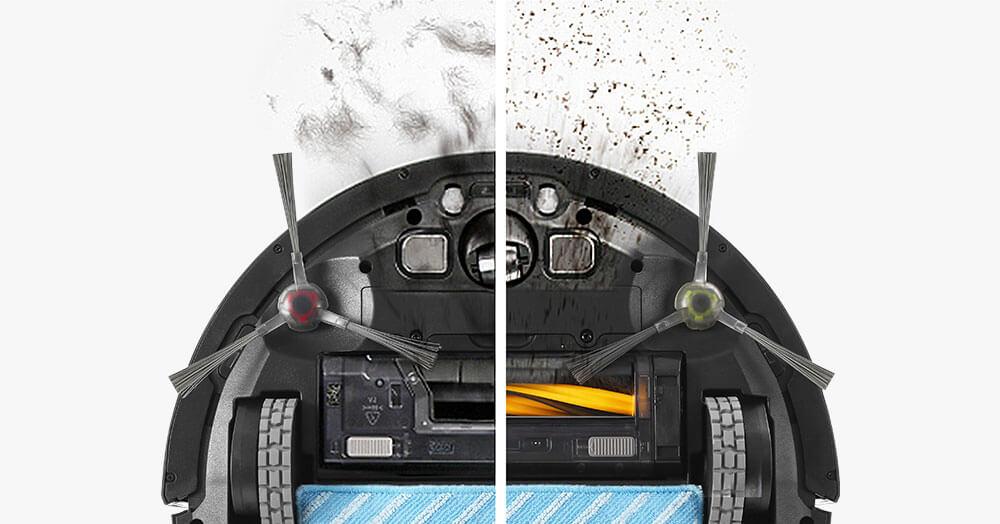 V字型メインブラシとダイレクト吸引口をそれぞれ下から見た写真