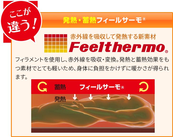【「赤外線を吸収して発熱する新素材」フィールサーモ®】フィラメントを使用し、赤外線を吸収・変換。発熱と蓄熱効果をもつ素材でとても軽いため、身体に負担をかけずに暖かさが得られます。